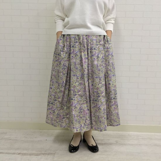Crespi - LIBERTY Wild Flower 綿シルフローン ギャザースカート(104-7102)