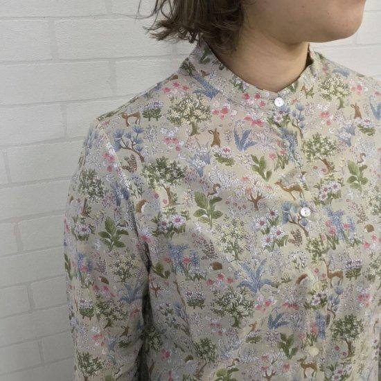 Parkes - 60ローン バンドカラー 自然と動物柄のシャツ