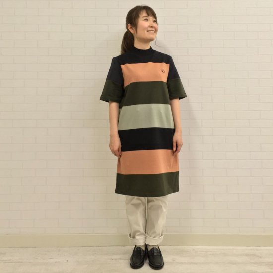 FRED PERRY - STRIPED SWEAT SHIRT DRESS(D1151)正規取扱商品