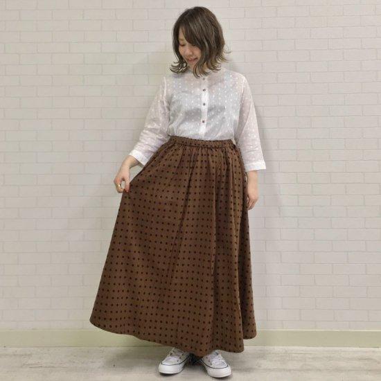 SOSOTTO - 綿麻Dot&Stripe後ろリボンタックスカート