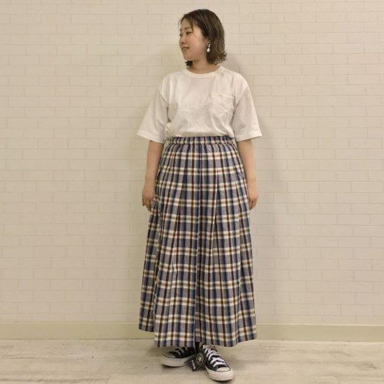 Le minor - 綿麻ナチュラルマドラスチェック プリーツスカート(EL17102)