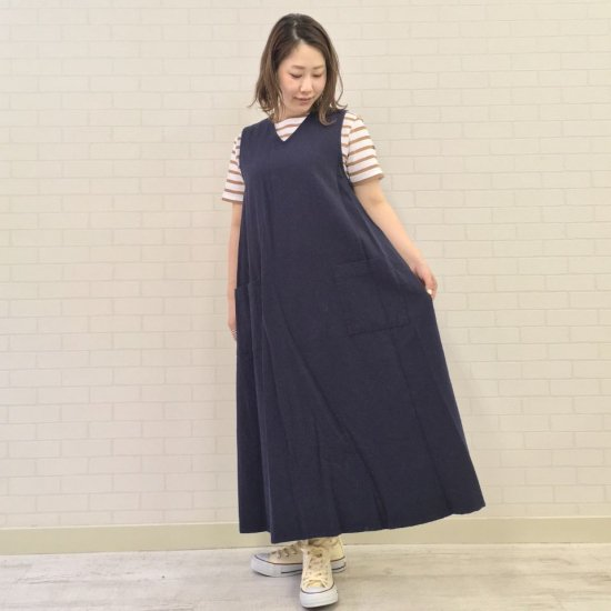 SARAHWEAR - Cotton Hemp Gabardine V-neck Jumper Skirt(C4215)