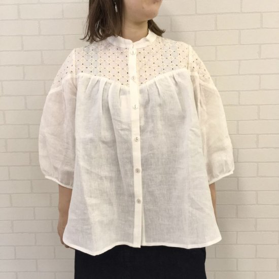 SARAHWEAR - Embroidery Linen Smock Blouse(C52721)
