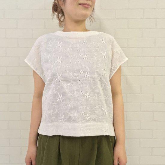 SARAHWEAR - Embroidery Gauze フレンチスリーブブラウス(C52712)