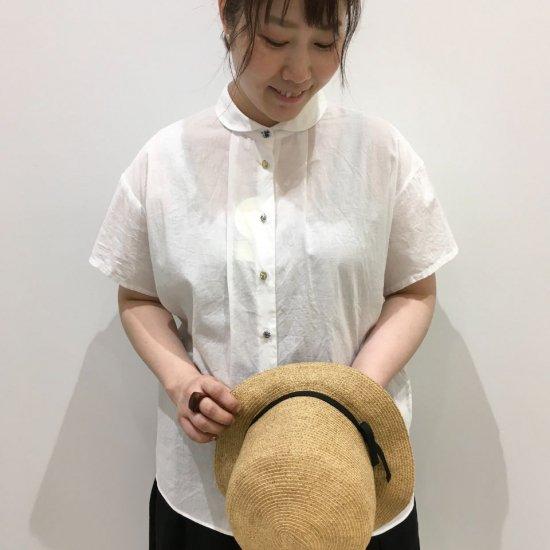 Parkes - 丸衿ボイルガーゼ半袖クルミ釦(リバティコレクション)