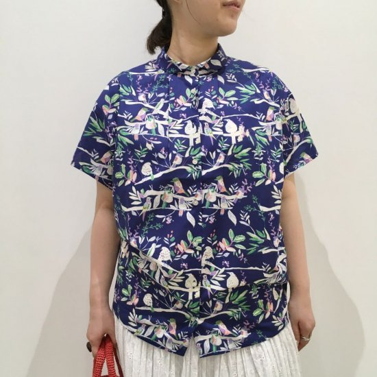 Parkes - 80sローンクリアソフト丸衿バードウォッチング柄半袖シャツ