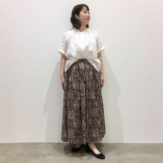J.sloane - オーガニックローンエスニックプリント 総ゴム仕様のギャザースカート