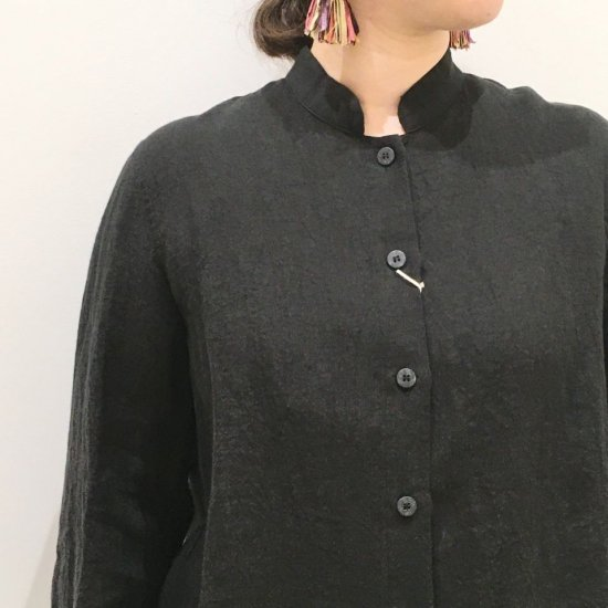 SARAHWEAR - ベルギーリネン スタンドカラーシャツ(C52701)