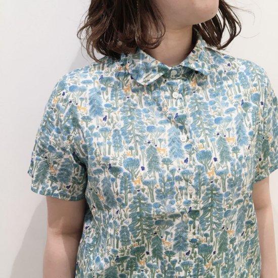 Parkes - 60sオーガニックローン 森柄 チビ衿半袖シャツ