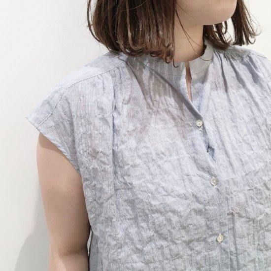 J.sloane - シャーリングストライプ スキッパーフレンチスリーブシャツ