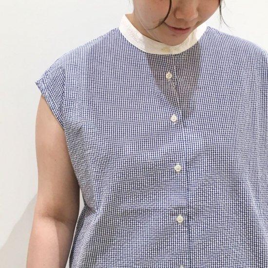 Parkes - シアサッカー別布 台衿 フレンチスリーブ