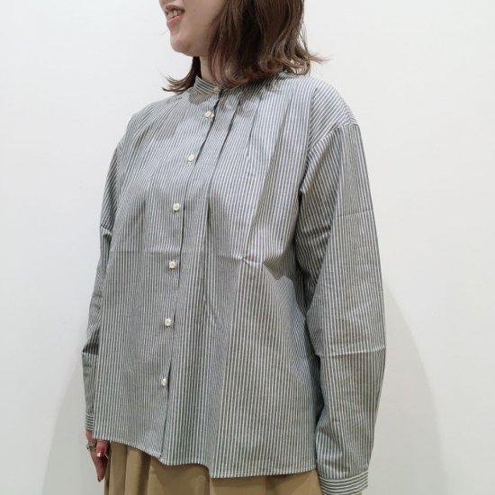 Parkes - 40Sアースストライプ バンドカラー長袖シャツ