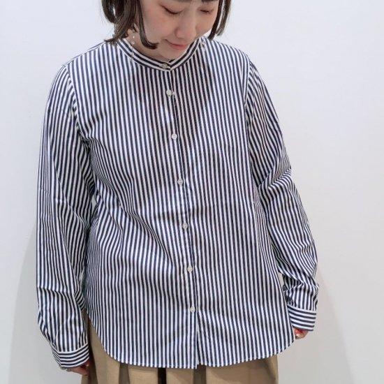 Parkes - ロンドンストライプ バンドカラーのシャツ