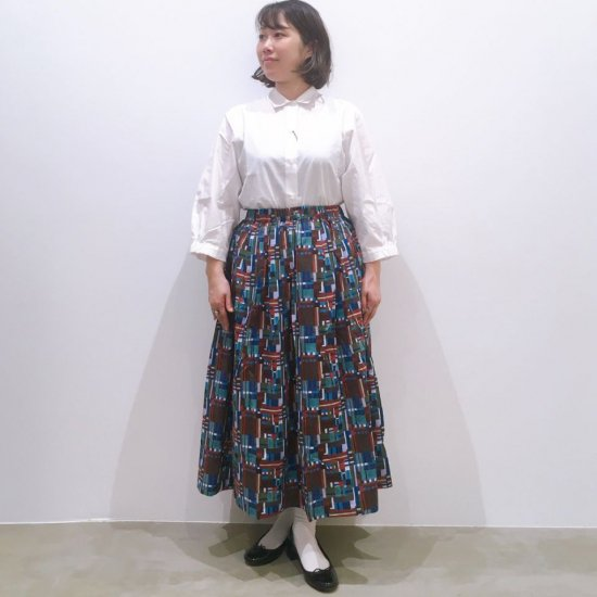 Sheth - リバティプリントミモレ丈タッキングギャザースカート(リバティコレクション)(1215095)