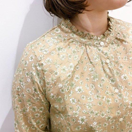 Parkes - 60ローン シンプル小花のスタンドフリルシャツ