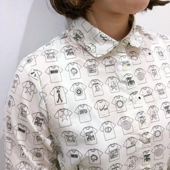 Parkes - 60ローン Tシャツ柄の丸衿シャツ