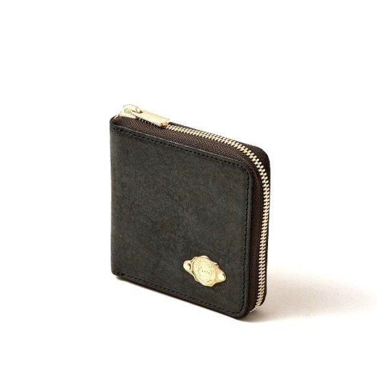 ワックスレザー ラウンド二つ折財布 / ブラック