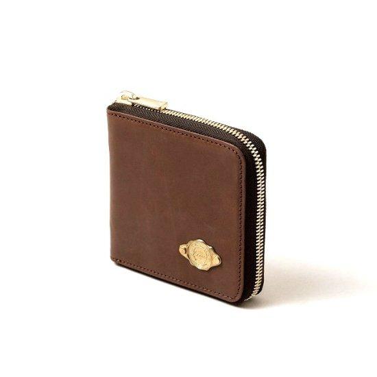 ワックスレザー ラウンド二つ折財布 / レッドブラウン