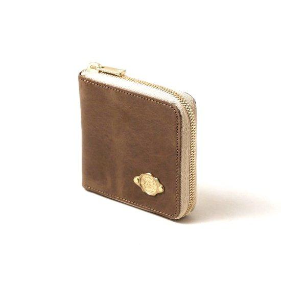 ワックスレザー ラウンド二つ折財布 / サンドベージュ