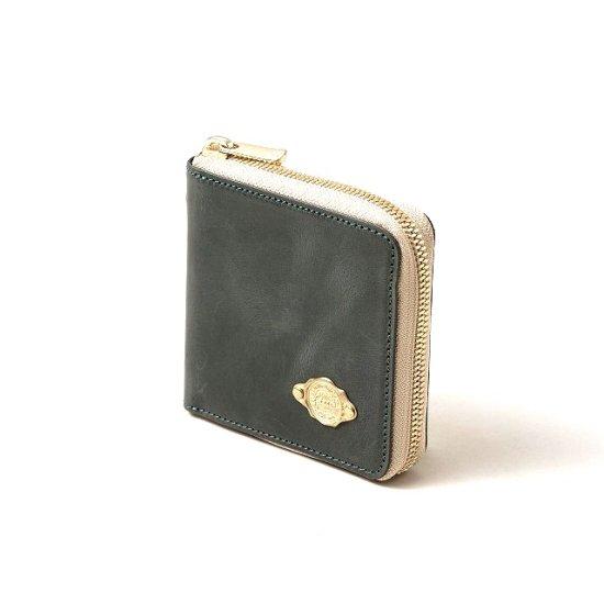 ワックスレザー ラウンド二つ折財布 / ブルー