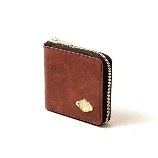 ワックスレザー ラウンド二つ折財布 / レッド