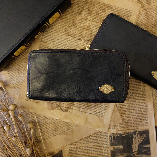 【アウトレット】ワックスレザー ラウンド長財布 / ブラック #020展示会見本・経年変化・金具にくすみあり