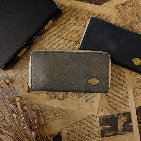 【アウトレット】ワックスレザー ラウンド長財布 / ブルー #021日焼け・金具にくすみあり