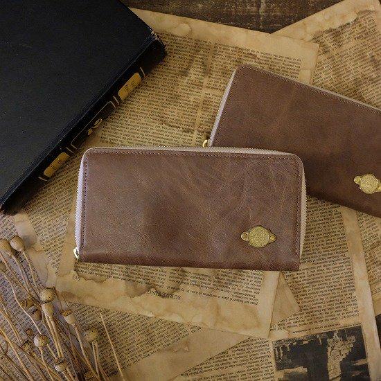 【アウトレット】ワックスレザー ラウンド長財布 / サンドベージュ #022経年変化・金具にくすみあり