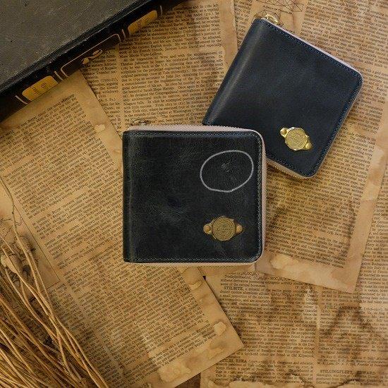 【アウトレット】ワックスレザー ラウンド二つ折り財布 / ブルー #039 日焼け・経年変化・革にキズあり・金具にくすみあり