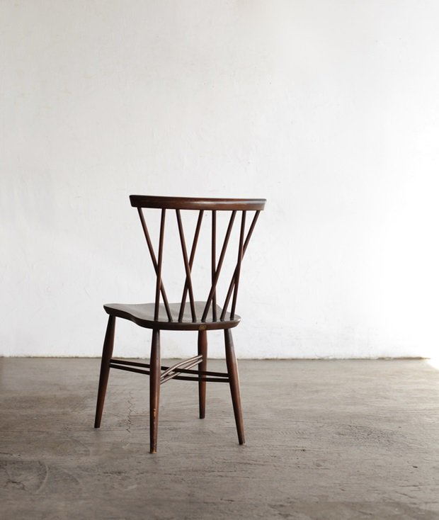ERCOL Xback chair (bell shaped seat/ dark)[AY]
