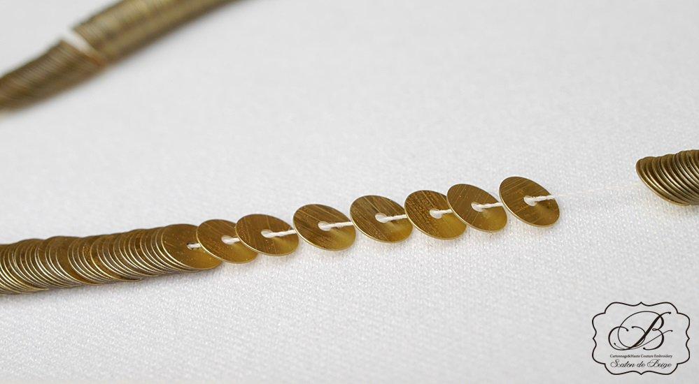 糸通しスパンコール・パイエット(平)マットゴールド 5mm1000枚