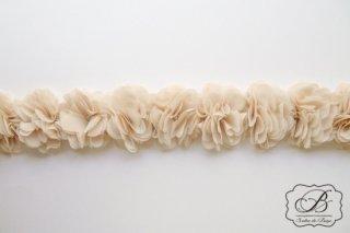フラワーフリルテープ(7cm巾) ベージュ