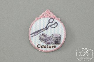 フランス製 Couture モチーフ 丸形 ピンク