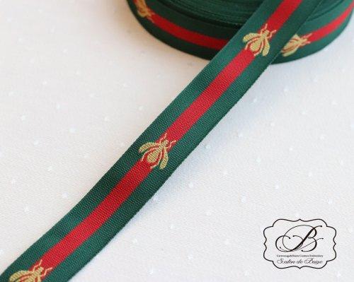 蜂刺繍 リボン2cm幅 Green&Red