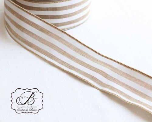 フランス製 ベージュホワイト 広幅リボン
