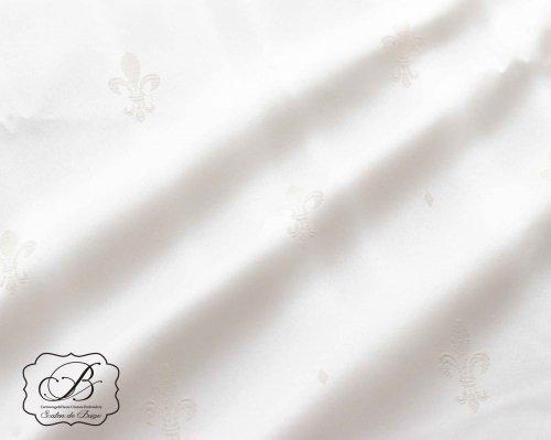フランス製 ホワイト百合柄 地模様生地