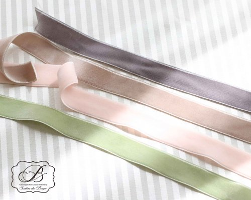 MOKUBA 両面ベルベッドリボン(18mm巾/24mm巾) ベージュ/グレー/ベビーピンク/ライトグリーン