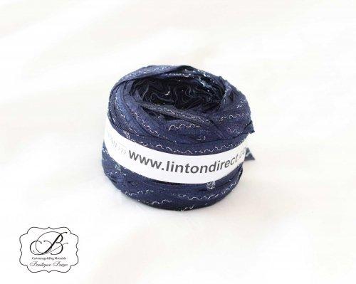 イギリス製 LINTON ネイビー&シルバー リボン Yarn