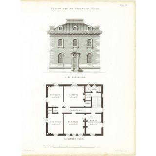 アンティークプリント 建築設計図 an Isolated villa