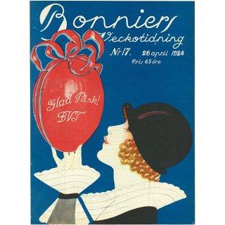 スウェーデンの古い雑誌表紙(アンティークプリント) Bonniers 1924-4-26 Nr17 030