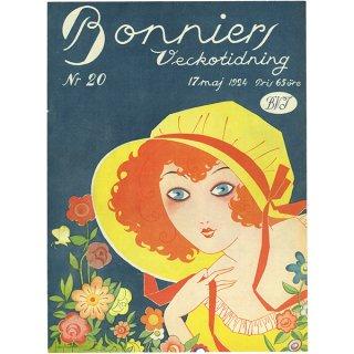 スウェーデンの古い雑誌表紙(アンティークプリント) Bonniers 1924-5-17 Nr20 040