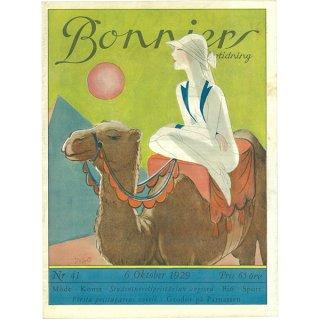 スウェーデンの古い雑誌表紙 Bonniers 1929-10-6 Nr41 045(アンティークプリント)