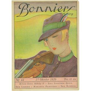 スウェーデンの古い雑誌表紙 Bonniers 1929-10-27 Nr44 047(アンティークプリント)