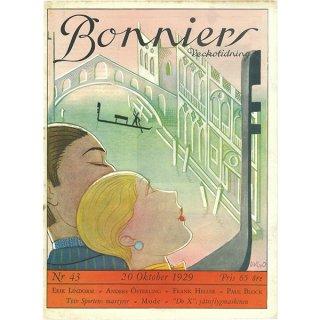 スウェーデンの古い雑誌表紙 Bonniers 1929-10-20 Nr43 051(アンティークプリント)
