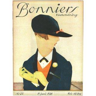 スウェーデンの古い雑誌表紙 Bonniers 1926-6-19 Nr25 054(アンティークプリント)