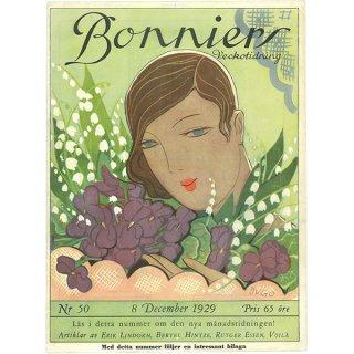 スウェーデンの古い雑誌表紙 Bonniers 1929-12-8 Nr50 055(アンティークプリント)