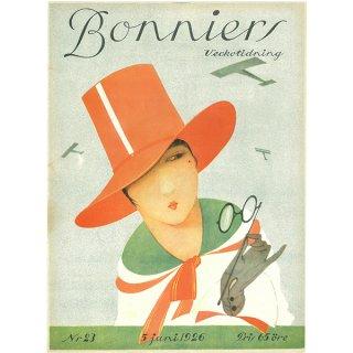 スウェーデンの古い雑誌表紙 Bonniers 1926-6-5 Nr23 056(アンティークプリント)