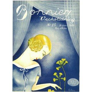 スウェーデンの古い雑誌表紙 Bonniers 1924-6-21 Nr25 058(アンティークプリント)