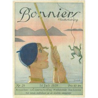 スウェーデンの古い雑誌表紙 Bonniers 1929-7-14 Nr29 059(アンティークプリント)
