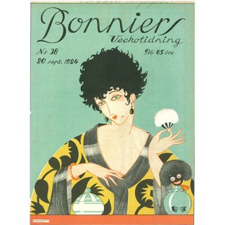 スウェーデンの古い雑誌表紙 Bonniers 1924-9-20 Nr38 061(ヴィンテージプリント)